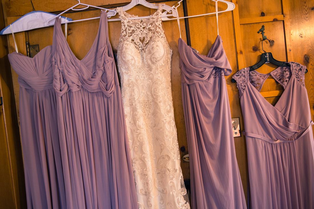Bridesmaid dresses getting ready photos
