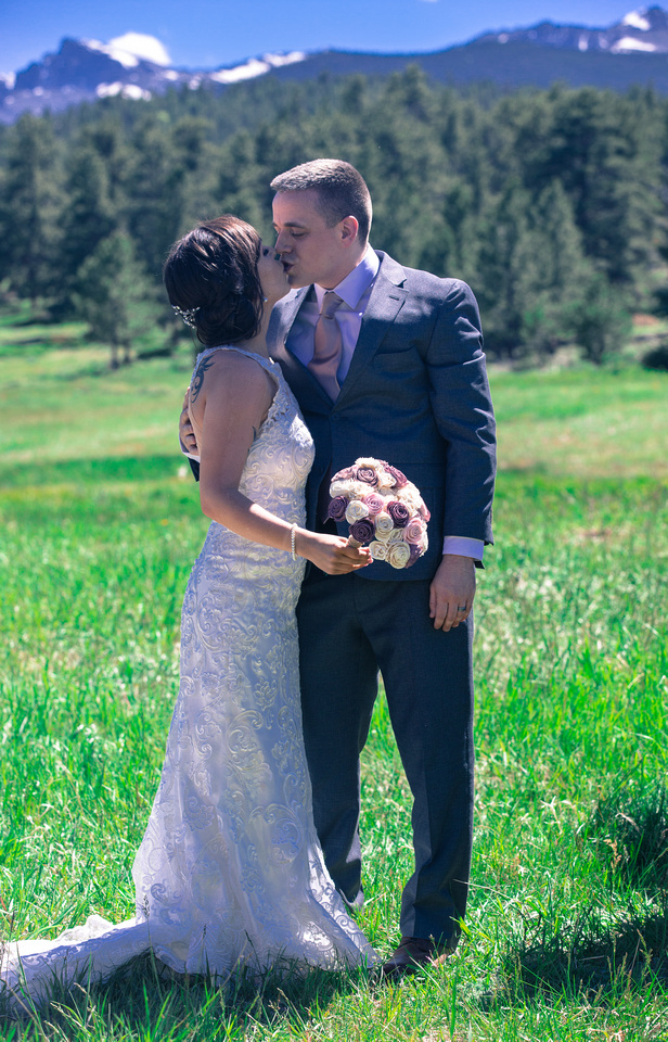 Bride and Groom after ceremony Estes Park wedding