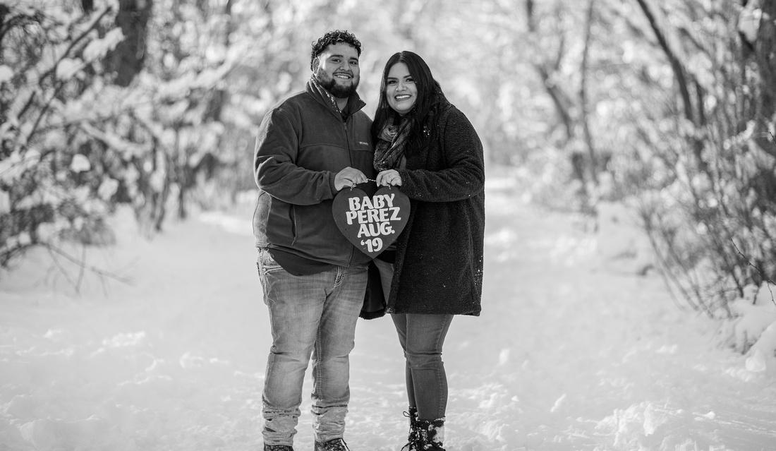 winter couple portraits Denver