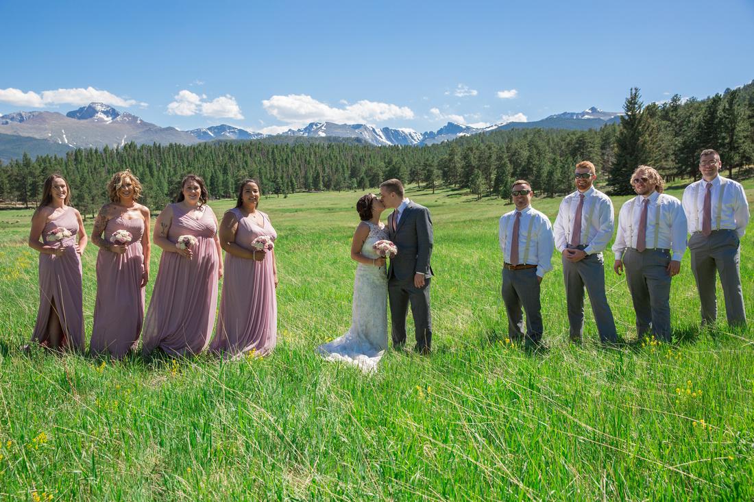 Bride and Groom with wedding party Estes Park